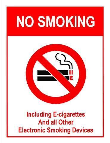 No Smoking Including E-cigarettes and All Other Electronic Smoking Devices